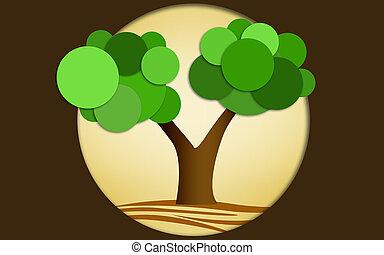 árvore, floresta verde, conceito, ir