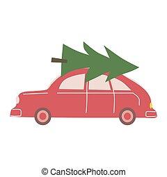 árvore, ilustração, trendy, car, estilo, brinquedo, caricatura, isolado, apartamento, vindima, vetorial, natal, retro