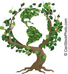 árvore, ilustração, vetorial, mundo, verde