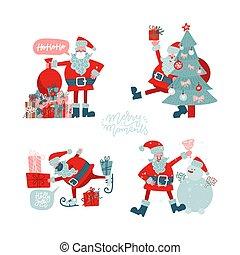 árvore, jogo, clauses, santa, natal., poses, apartamento, illustration., personagem, mão, desenhado, antigas, vetorial, xmas, snowman., presentes, diferente, cobrança