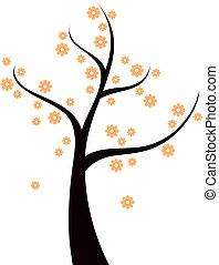 árvore, laranja floresce, isolado, primavera, branca