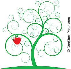 árvore, maçã, espiral