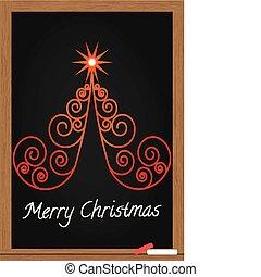 árvore, natal, chalkboard