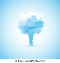 árvore, nuvem, forma