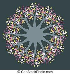 árvore, pássaros, coloridos, vetorial, sazonal, círculo