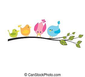 árvore, pássaros