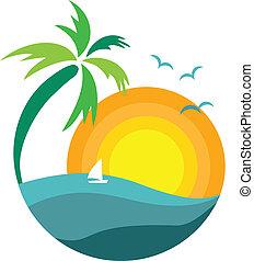 árvore palma, pôr do sol, vista