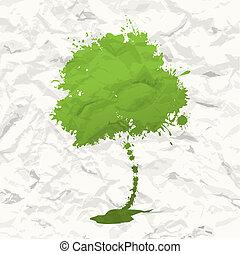árvore., papel amarrotado, verde