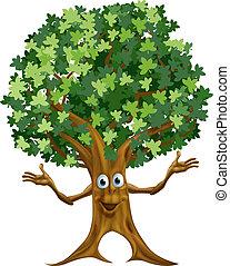 árvore, personagem, caricatura