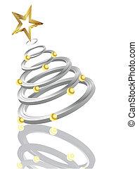 árvore, prata, natal