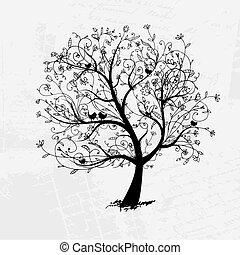 árvore, pretas, seu, arte, desenho, bonito, silueta