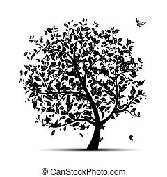 árvore, pretas, seu, arte, silueta