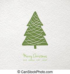 árvore, saudação, mão, stylized, desenhado, cartão natal