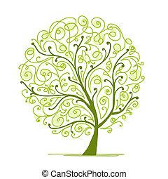 árvore, seu, arte, verde, desenho