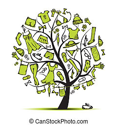 árvore, seu, guarda-roupa, desenho, roupas