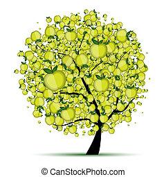 árvore, seu, maçã, desenho, energia