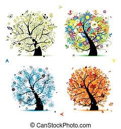 árvore, seu, primavera, winter., estações, -, outono, verão, arte, quatro, desenho, bonito