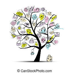 árvore, shopping, seu, sacolas, desenho