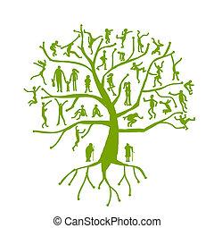 árvore, silhuetas, parentes, família, pessoas