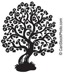 árvore, silueta, lima
