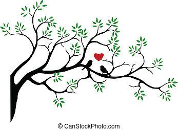 árvore, silueta, pássaro