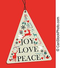 árvore, tag, enforcar, natal, pinho