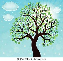 árvore, tema, 2, silueta, frondoso