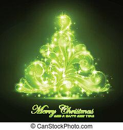 árvore, verde, faíscas, macio, natal, brilho
