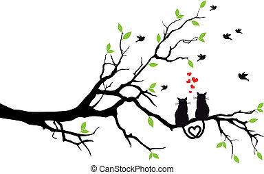 árvore, vetorial, amor, gatos