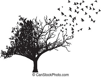 árvore, vetorial, arte, pássaro