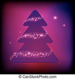 árvore, vetorial, faíscas, feriado, cartão natal