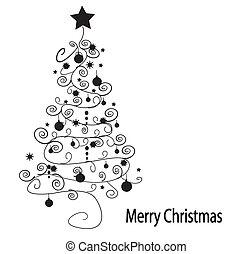 árvore., vetorial, natal