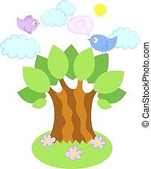 árvore, vetorial, pássaros, ilustração