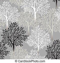 árvore, vetorial, pattern., seamless, ilustração