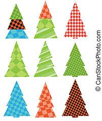 árvores., jogo, natal