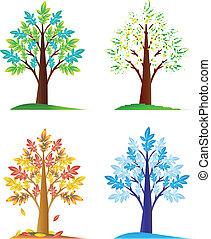 árvores, jogo, sazonal, abstratos