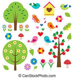 árvores., vetorial, jogo, pássaros