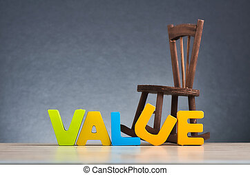 âmago, feito, palavra, fundo, madeira, sobre, suavemente, valor, iluminado, conceito, valores, fundamental, escrivaninha, letra, escuro