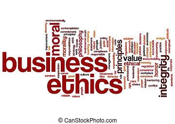 ética, palavra, negócio, nuvem