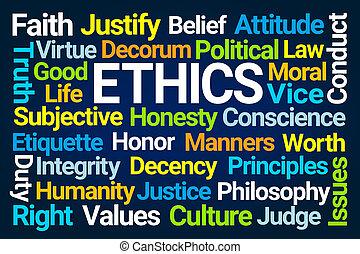 ética, palavra, nuvem