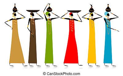 étnico, jarros, mulheres