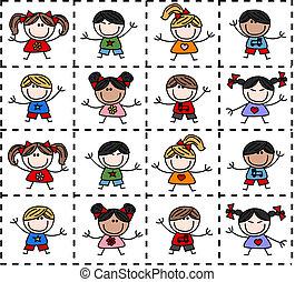 étnico, misturado, feliz, crianças