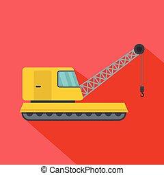 ícone, apartamento, escavadora, estilo