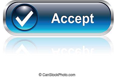ícone, botão, aceitar