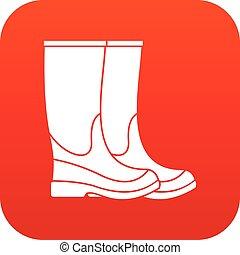 ícone, botas, vermelho, digital