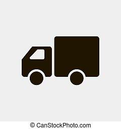 ícone, branca, ilustração, fundo, isolado, vetorial, caminhão