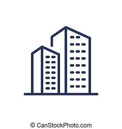 ícone, casas, magra, residencial, linha