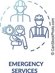ícone, conceito, serviço emergência