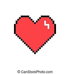 ícone, coração, estilo, pixelated, bits, 8