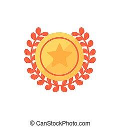 ícone, desenho, ouro, vetorial, selo, isolado